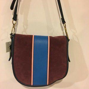 Fossil Rumi Striped Gray Red Blue Handbag Size L